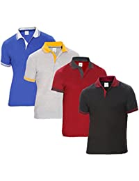 Baremoda Men's Polo T Shirt Black Maroon Grey And Blue Combo Pack of 4