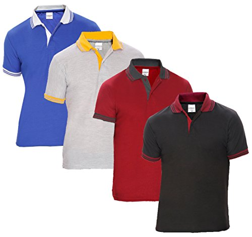 Baremoda Men's Polo T Shirt Black Maroon Grey And Blue Combo Pack of 4 (XX-Large)