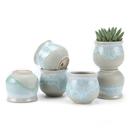 T4U 6.5CM Sukkulenten Töpfe Kaktus Pflanze Töpfe Mini Blumentöpfe Grau Basis Fließend Glasur Serie Rund Breit 6er Set