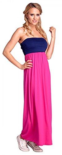 Glamour Empire. Femme Maxi Robe Sans Bretelles Jupe Évasée Taille Empire. 268 Fuchsia et Bleu Marine