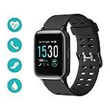 Huyeta Smartwatch Fitness Tracker IP68 Impermeabile Orologio Sportivo con Cardiofrequenzimetro, Contapassi, Cronometro e Touch Screen da 1.3 Pollici per Android iOS (Nero)