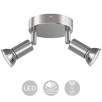 Creyer Orientabile Lampada da Soffitto, ø18cm, con 4 Lampadine LED GU10 da 4W(400LM, Luce Bianca Calda, Equivalente a 50W Lampada Alogena, Non Dimmerabile), Forma Circolare, Moderna Faretti LED