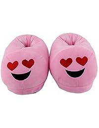 Qualtos Pink Smiley Warm Shoes Emoji Bedroom Slipper Free Size Indoor Slipper Funny Soft Plush for Adults Kids Teens Bedroom Smiley Poop Comfy Socks Womens Girls Non-Skid Footpads