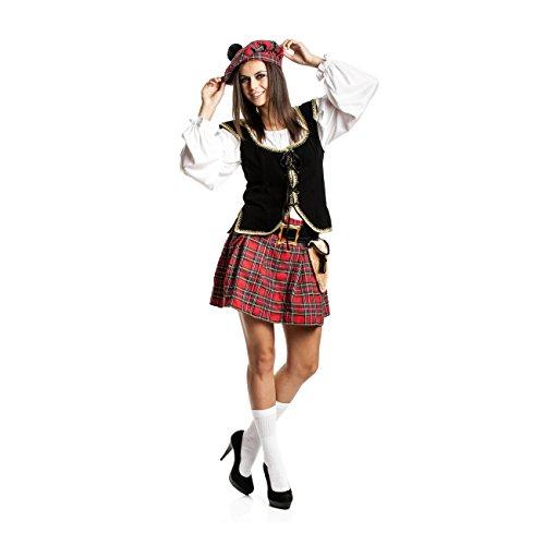 Kostümplanet Schotten-Kostüm Damen mit Mütze + Tasche sexy Schottin-Kostüm Größe ()