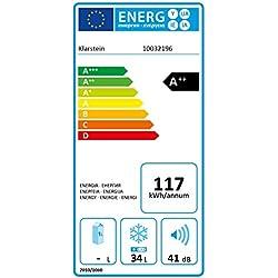 Klarstein Garfield Eco • Congélateur 4 étoiles • Capacité nette de 34 litres • 117 kWh/an • 2 niveaux • 41 dB • Tablette amovible • Autonome • Gain de place • Env. 44 x 52 x 47 cm (LxHxP) • argent