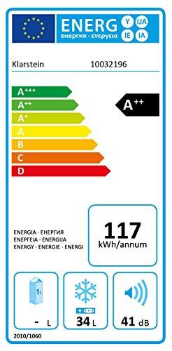 Klarstein Garfield Eco - Congélateur 4 étoiles, Capacité nette de 34 litres, 117 kWh/an, 2 niveaux, 41 dB, Tablette amovible, Autonome, Gain de place, Env. 44 x 52 x 47 cm (LxHxP), argent
