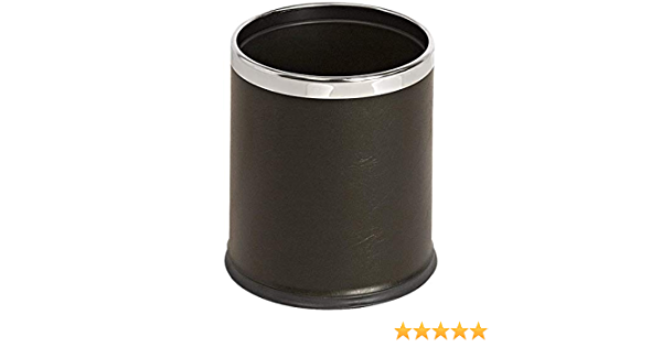 Abfalleimer B/ürokorb TableCraft Papierkorb Leder- Schwarz Doppelwandiger runder Papierkorb in der Gr/ö/ße 28 x 2 cm 10 L runder M/ülleimer B/üro M/ülleimer
