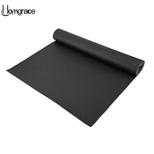 Homgrace Esterilla de Yoga/Alfombra de Yoga, Espesor de 3 mm para Pilates, Gimnasio, Yoga, Camping, Estiramientos (Negro 3mm)