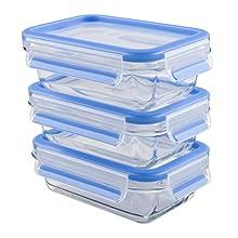 Emsa 514170 Clip & Close set of 3 glass storage boxes with plastic lids, volume 0.5 litres, transparent/blue