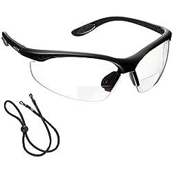 voltX 'CONSTRUCTOR' (TRANSPARENTE dioptría +2.0) Gafas de Seguridad de Lectura BIFOCALES que cumplen con la certificación CE EN166F / Gafas para Ciclismo incluye cuerda de seguridad - Reading Safety Glasses