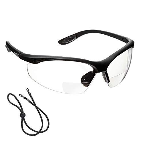 voltX \'CONSTRUCTOR\' BIFOKALE Schutzbrille mit Lesehilfe (KLAR +2.0 Dioptrie) CE EN166F zertifiziert/Sportbrille für Radler enthält Sicherheitsband – Bifocal Safety Glasses