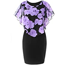 FNKDOR Summer Fashion Womens Ladies Evening Party Theatre Concert Elegnat Charming Casual Plus Size Rose Print Chiffon O-Neck Ruffles Mini Dress