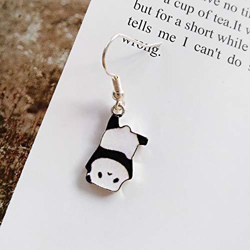 Chwewxi Gancio dell'orecchio di Panda Giapponese di Modo Divertente Coreano Semplice Ragazza Dolce Vento Orecchini Carino Studente Orecchio Clip Femminile, a Testa in Giù Panda Gancio Orecchio Uno