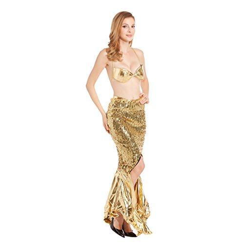 Frauen Sexy Meerjungfrau Halloween Kostüm GOLD1092