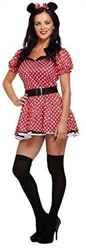 Damen Sexy Rot Fräulein Minnie Maus Party Kostüm Outfit STD &Übergröße - Rot, Plus (UK (Minnie Maus Kleid Erwachsene)
