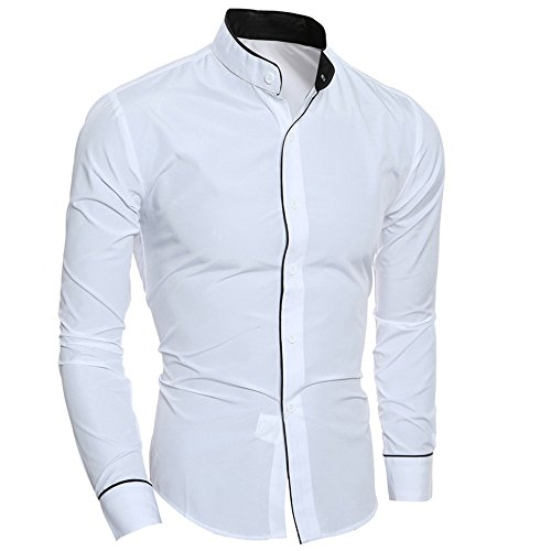 Herren fashion personality casual slim long-sleeved shirt top -