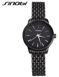 Relojes Hermosos, Mujer Reloj de Moda Cuarzo Resistente al Agua Aleación Banda Negro Marca- SINOBI ( Color : Negro , Género : Para Mujer )