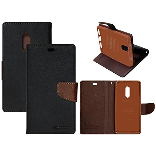 Casotec Mercury Fancy Diary Wallet Flip Case Cover for Xiaomi Redmi Note 4 - Black / Brown  available at amazon for Rs.399
