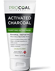 Premium Activated Charcoal Face Mask, Blackhead Removal Mask, Black Head Remover Detox Clay Mask For Clear Complexion, Charcoal Face Masks For Shrinking Pores, Black Facial Mask Fighting Acne, Toning Skin, & Removing Impurities - MADE IN UK (1 Unit 75ml)