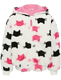 M&Co Girls Long Sleeve Black and Pink Cat Print Zip Fastening Pink Lined Hooded Fleece