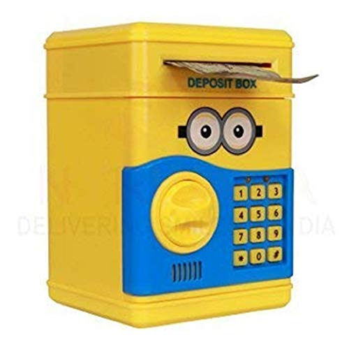 Electronic Password Protected Money Saving Vault, Safe, Coin Piggy Bank, Desposite Box for Kids, Children Coin Bank (Yellow, Minion)