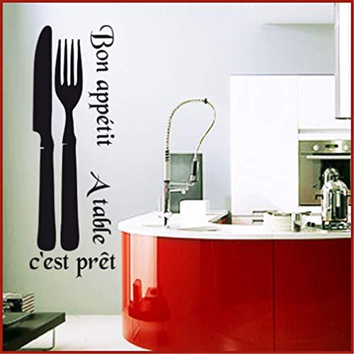 Stickers Cuisine Déco Cuisine Couverts Couteau Fourchette Vinyle...