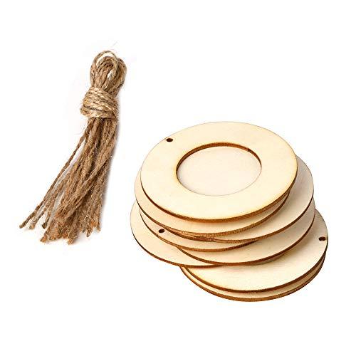 Decdeal Holz Bilderrahmen 10 Stücke Mini Runde Bild Halter mit Hängenden Seil DIY Holz Handwerk für Wanddekoration