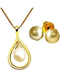 Surat Diamonds Hanging Drop Shaped Gold Plated Pendant With 22 IN & Real Pearl Stud Earrings For Girls H1508