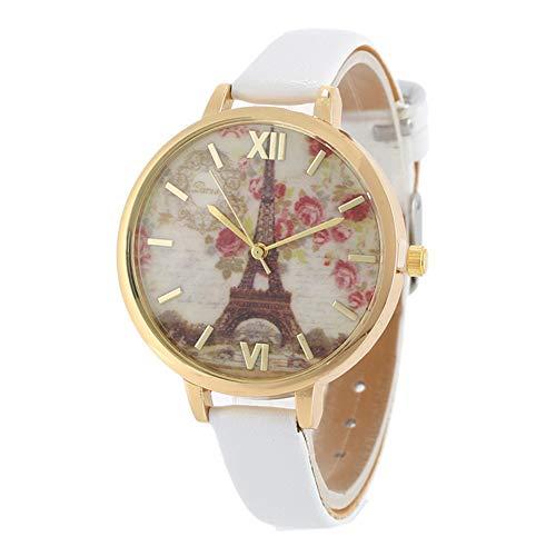 Jingyuu - Orologio da donna, in pelle, vintage, Torre di Parigi, colore: rosa bianco