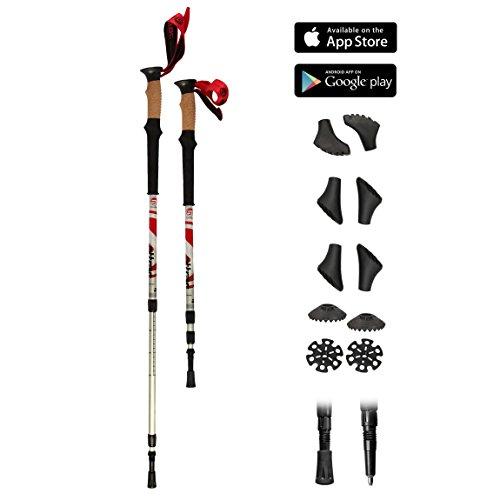 Bâtons de marche nordique télescopiques (67 - 136 cm) + 10 embouts et 2 rondelles - Nordic Walking / Trekking / Randonnée - Climber
