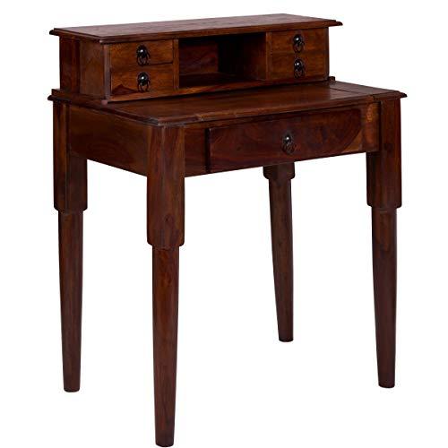 BUTLERS Hopkins Kleiner Sekretär B80xT49xH92 - Dunkelbrauner Antiker Schreibtisch aus Holz - Vintage Tisch mit Schubladen -