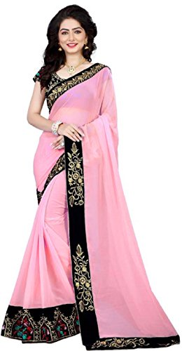Women's Ethnic Clothing Pink Georgette Sequence Work Sarees For Women Party Wear...