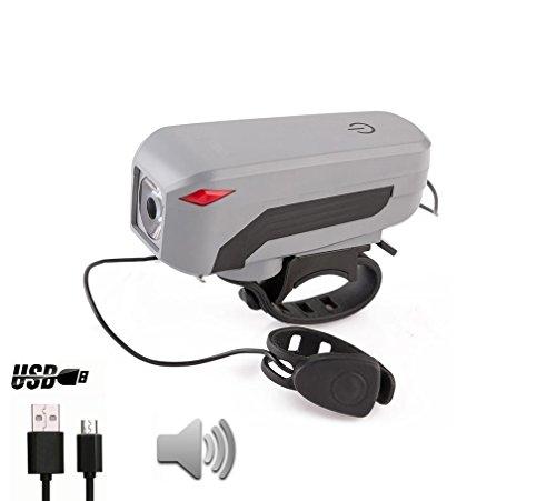LED Fahrrad Frontlicht mit Horn-Lautsprecher von Mentalize – [350 LM Cree LED - 2000mAh Li-Batterie - 140 db & 5 Sounds Horn], USB wiederaufladbar, 4 Lichtmodi – Intelligente Touch Taster , einfache Montage – IP65 Wasserdicht (Grau/Schwarz)