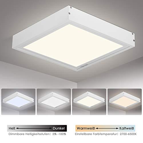 Albrillo 20W LED Deckenleuchte Panel   Dimmbar Deckenlampe mit Einstellbar Farbtemperatur   inkl. Aluminiumrahmen und 2.4GHZ Fernbedienung   Schlafzimmer Wohnzimmer Küche geeignet   IP20, 30cm