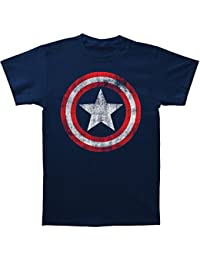 Captain America - Jersey Bouclier ajusté à court T-shirt à manches dans la Marine