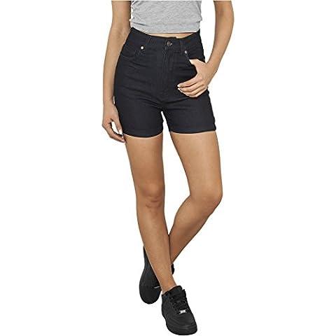 Ladies High Waist Denim Skinny Shorts raw blue denim