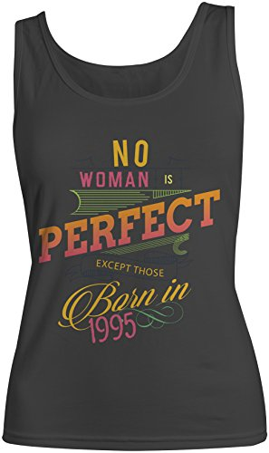No Woman Is Perfect Except Those Born In 1995 Compleanno Donna Tank Top Canotta Nero Small