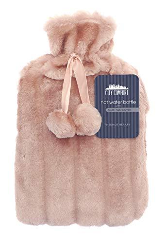 CityComfort Wärmflasche mit Super Soft Luxury Plüschbezug | 2 Liter Wärmflaschen | Britisches Design sicher und haltbar (pink)