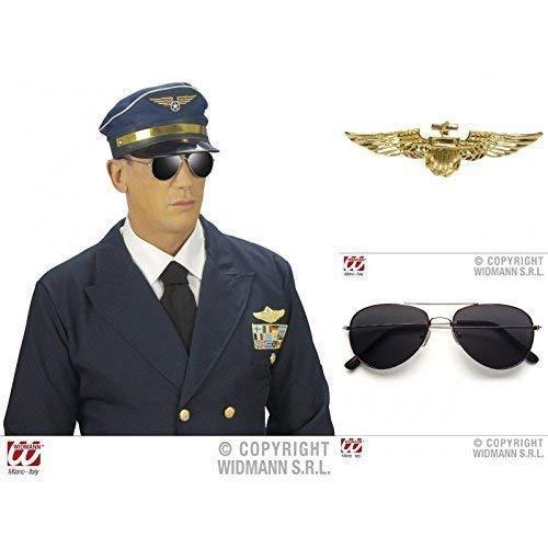 lively moments Piloten Special 3- er Set , Brille mit silberem Rahmen (Mit Pilotenmütze Brille)