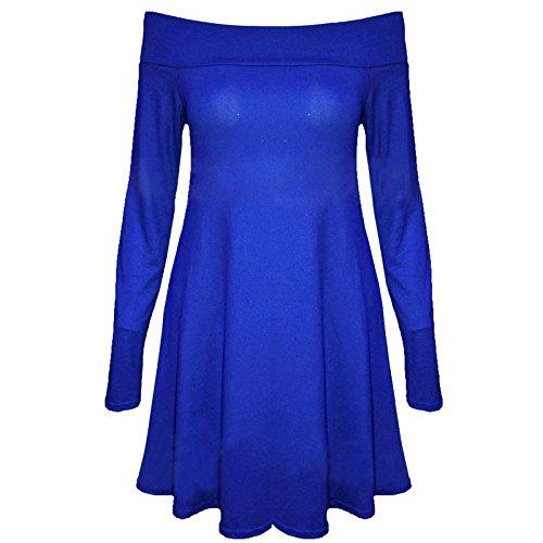janisramone nouvelles femmes au large de l'épaule manches longues swing top mini robe patineuse Bleu royal