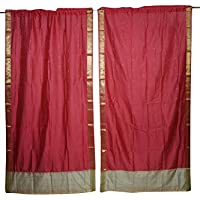 Mogul Interior Home Decor Curtains Red Window Draperies Vintage Sari Panel Pair Set 84x44