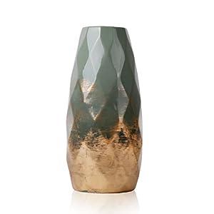 Teresa's Collections – Jarrón de cerámica para jardín y hogar (Altura: 23 cm, diámetro: 10 cm), Color Verde y Dorado