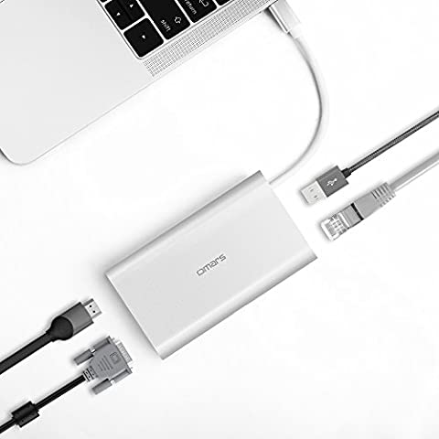 "USB C Hub, OMARS Hub USB-C vers Gigabit Ethernet, HDMI 4K, VGA, 2 x USB 3.0 5Gbps, Puissance de Chargement pour Huawei Matebook, Apple New MacBook 12"", MacBook Pro, ChromeBook Pixel 2015"