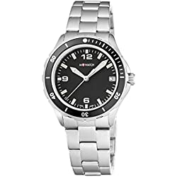 M-Watch Women's Quartz Watch with Black Dial Analogue Display and Silver Stainless Steel Bracelet WBX.18220.SJ