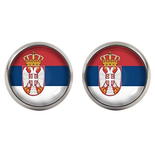 Ohrstecker - Cabochons - Serbien Flagge - WM 2018 - versilberte Fassung 14mm - Handgemacht