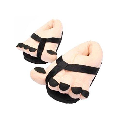 Minetom Donna Unisex Lover Divertente Inverno Alluce Piedi Caldi Creativa Regalo Peluche Molle Pantofole Nero