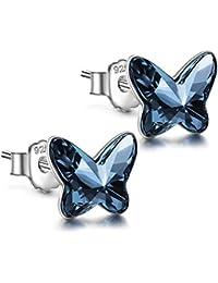 ANGEL NINA Dia de la madre Amor Libre Pendientes de Mujer, Serie Mariposa, 925 Plata con Cristale Swarovski, Cada Momento Especial