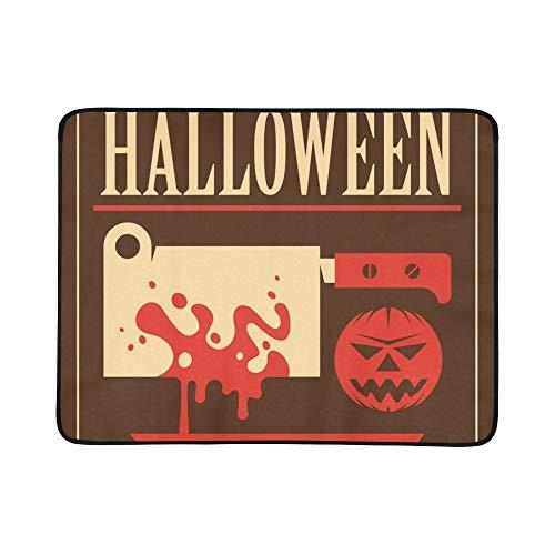 SHAOKAO Retro Halloween Plakat tragbare und Faltbare Decke Matte 60x78 Zoll handliche Matte für Camping Picknick Strand Indoor Outdoor Reise