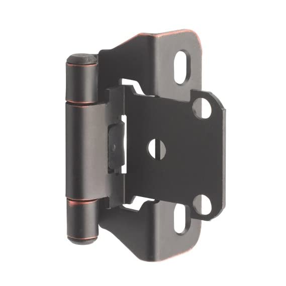 Amerock BP7566ORB Self-Closing, Partial Wrap Hinge with 1/4in(6mm) Overlay - Oil-Rubbed Bronze - 2 Pack