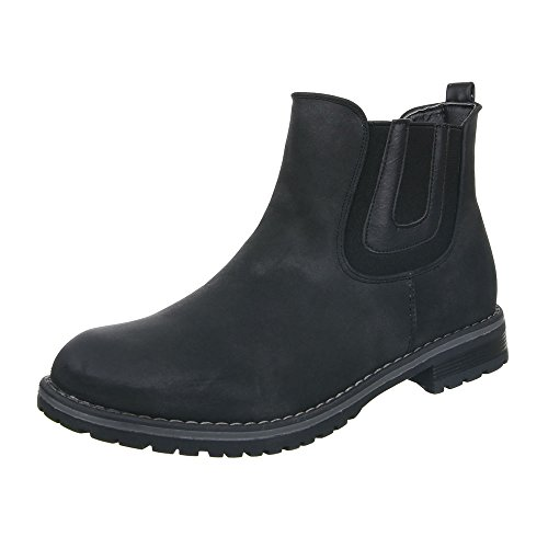 Damen Schuhe Stretch Schlupfstiefel Komfort Stiefeletten Stiefeletten Blockabsatz Schwarz